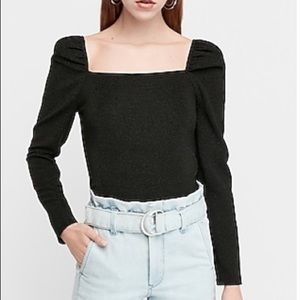 NWOT Express Ribbed Square Neck Puff Sleeve Top XL